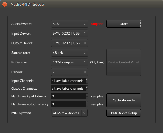 The Audio/MIDI Setup Dialog
