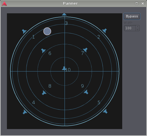 The VBAP panner with 10 outputs, in experimental 3D mode