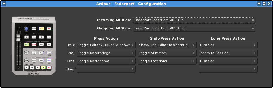 The Faderport configuration dialog