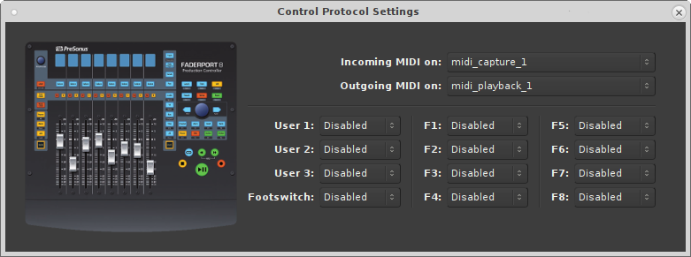 FaderPort8 Control Surface Settings Dialog