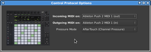 the Push 2 configuration dialog