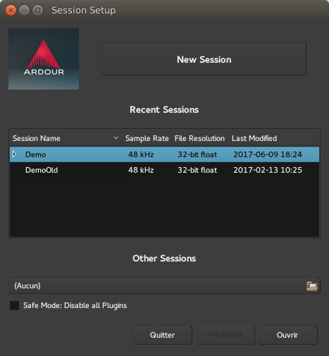 The Session Setup Dialog