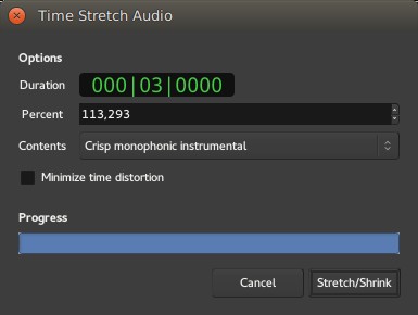 The Time Stretch Audio window